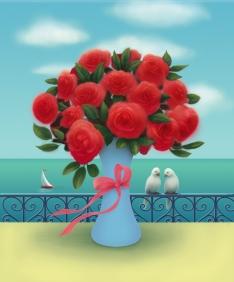 flowers in vase adj